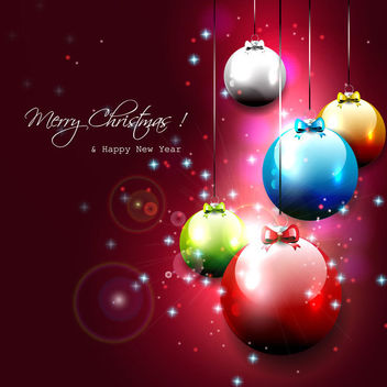 Multicolor Glossy Christmas Balls on Red Background - Free vector #164729