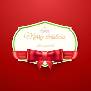 Christmas Invitation with Ribbon on Red Background - vector gratuit #164749