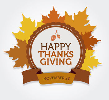 Happy Thanksgiving round label - Free vector #164829