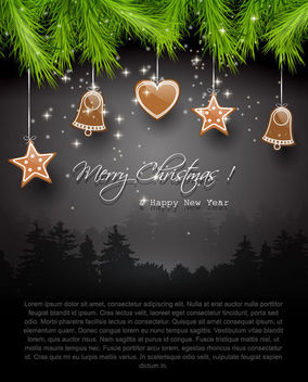 Dark Christmas Greeting with Branch & Icons - Free vector #164849
