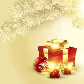 3D Decorative Gift Box on Golden Tree Branch Background - Free vector #164919