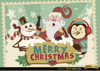 Santa penguin snowman Christmas card - Free vector #164929
