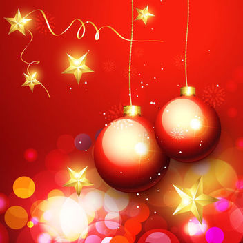 Luxurious Ornaments & Bokeh Light Christmas Background - Free vector #164939