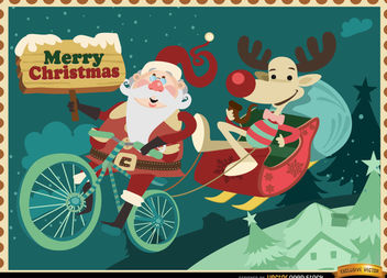 Santa Reindeer funny Christmas background - vector gratuit #164959