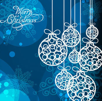 White Christmas Balls on Snowflakes Background - vector gratuit #164979
