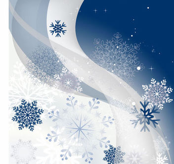 Snowflakes & Waves Christmas Background - Free vector #164989