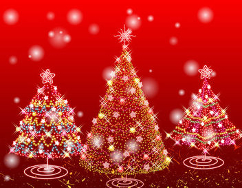 Shiny Decorative 3 Christmas Trees - Free vector #165039