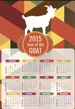 2015 Year of goat polygon calendar - vector #165049 gratis
