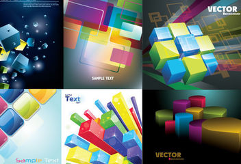 3D Colorful Cubes & Squares Background Pack - vector gratuit #165109