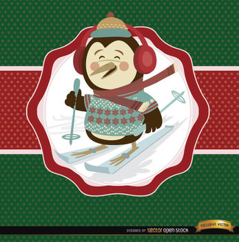Christmas penguin ski label background - vector gratuit #165179