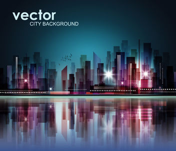 Fluorescent Abstract Skyscraper Background - vector gratuit #165229
