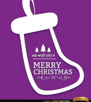 Merry Christmas sock purple background - vector #165249 gratis