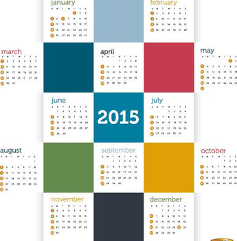 2015 Colored squares calendar - vector #165339 gratis