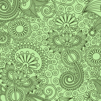 Floristic Seamless Ornament Pattern - Free vector #165419