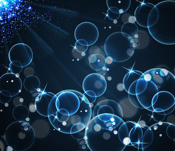 Blue Bokeh Bubbles with Shiny Light Rays - vector gratuit #165449