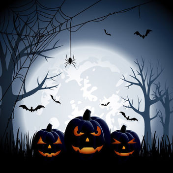 Large Full Moon Creepy Halloween Background - vector gratuit #165529