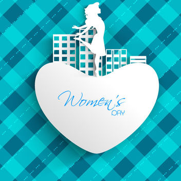 Happy Woman on Heart Over Checker Pattern - Free vector #165569