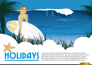 Cartoon surfer girl background - vector gratuit #165579