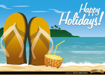Beach sandals cocktail background - Free vector #165609