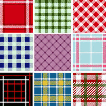 Seamless Plaid Pattern Collection - бесплатный vector #165709