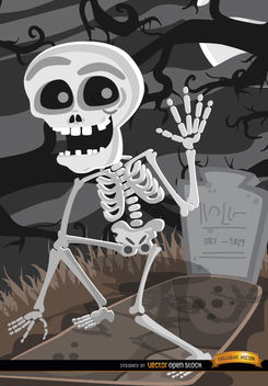 Cartoon Skeleton tomb graveyard - Free vector #165719