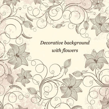 Vintage Decorative Swirling Grungy Floral Frame - Free vector #165729