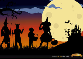Halloween children disguised silhouettes background - Free vector #165749