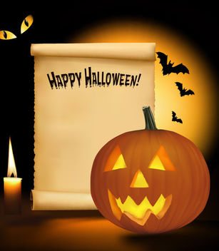Creepy Halloween Design with Paper Note - Free vector #165779