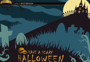 Scary Halloween poster with graveyard & hunted house - Free vector #165839