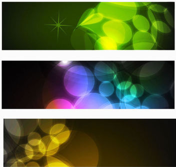 3 Multicolor Banners with Glowing Bokeh Lights - vector #165849 gratis