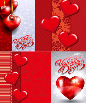 Abstract Glossy Hearts Valentine Card Set - Free vector #165859