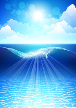 Bigger Sea Wave & Shiny Sky - vector gratuit #165939