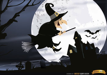 Halloween witch flying graveyard night wallpaper - бесплатный vector #165989