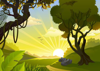 Sunrise Landscape Jungle Side - Free vector #166129
