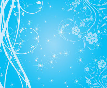Swirly Blue Background with Sparkling Stars - vector #166209 gratis