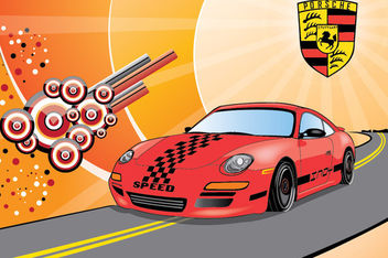 Porsche Car in the Street with Abstract Background - Free vector #166249
