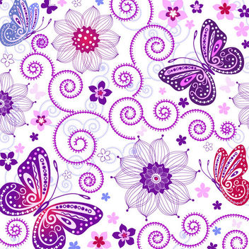 Decorative Swirls & Butterflies Seamless Pattern - Free vector #166269