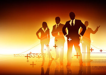 Businessmen People Tem Silhouette with Signs - vector gratuit #166299