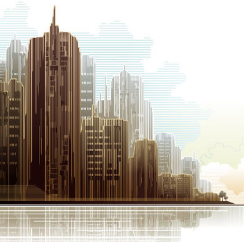 Abstract Linen Textured City Skyscrapers - vector gratuit #166379