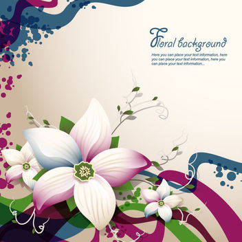 Abstract Floristic Background with Waves & Curves - Free vector #166389