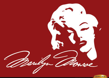 Marilyn Monroe face signature background - vector #166469 gratis