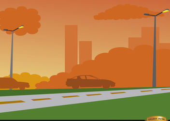Orange sunset on city road background - vector gratuit #166479