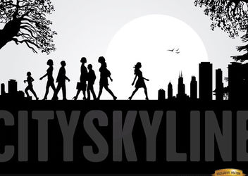 City Skyline with People Walking - vector gratuit #166549