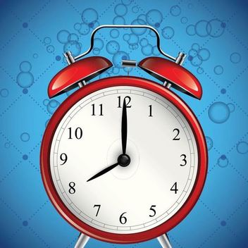 Glossy Alarm Clock with Blue Bubble Background - Free vector #166689
