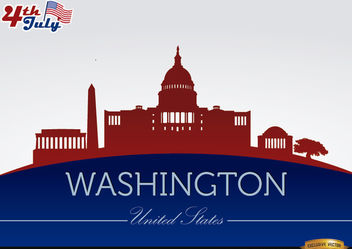 Washington city silhouettes on July 4th - vector gratuit #166749