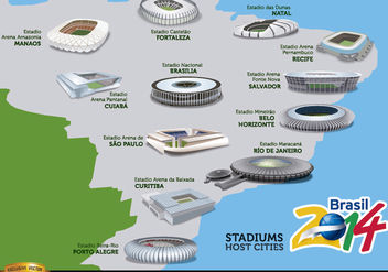 Stadiums hosts cities Brazil 2014 map - бесплатный vector #166799
