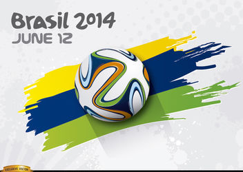 Football rolling over Brasil 2014 colors - vector gratuit #166869