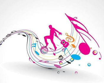 Silhouette Guitarist with Colorful Musical Notes - vector #166969 gratis