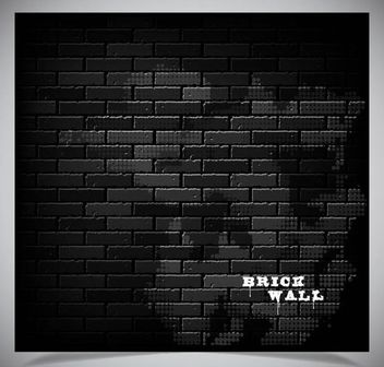 Shadowed Brick Wall with Darkish Grunge - Free vector #167009