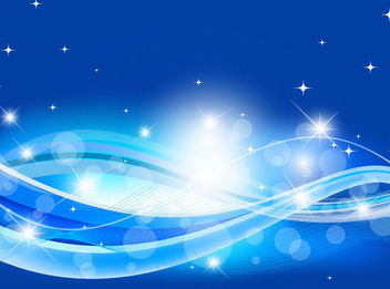 Abstract Blue Wave Background with Sparkles - vector #167059 gratis